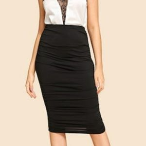 Black ruched pencil skirt